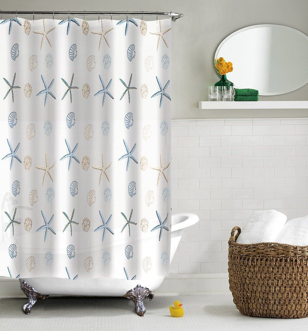 Peva shower curtain nautical design - Homepuff Seashell Shower Curtain