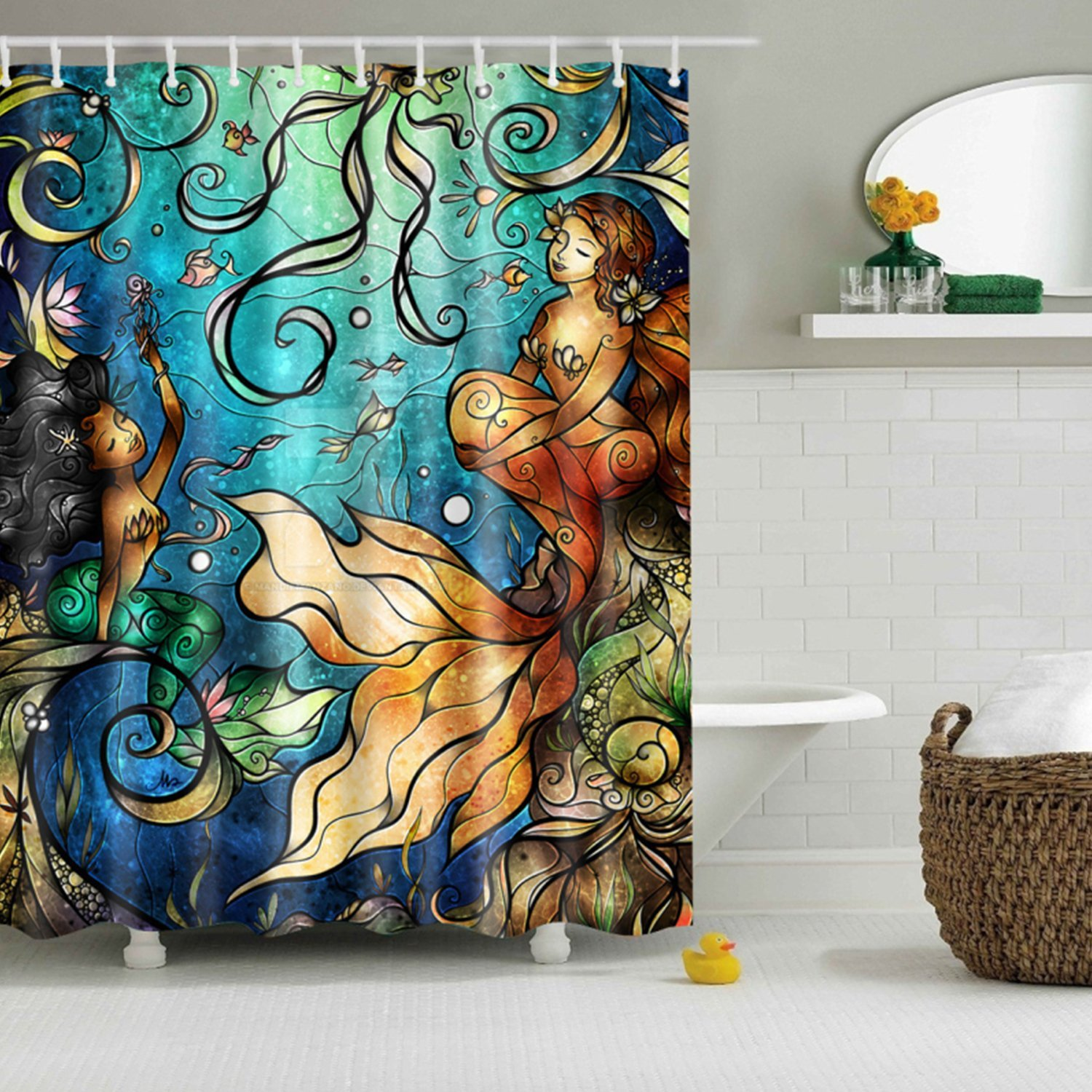 Mermaid shower curtains - Yimeis Mermaid Print Shower Curtain