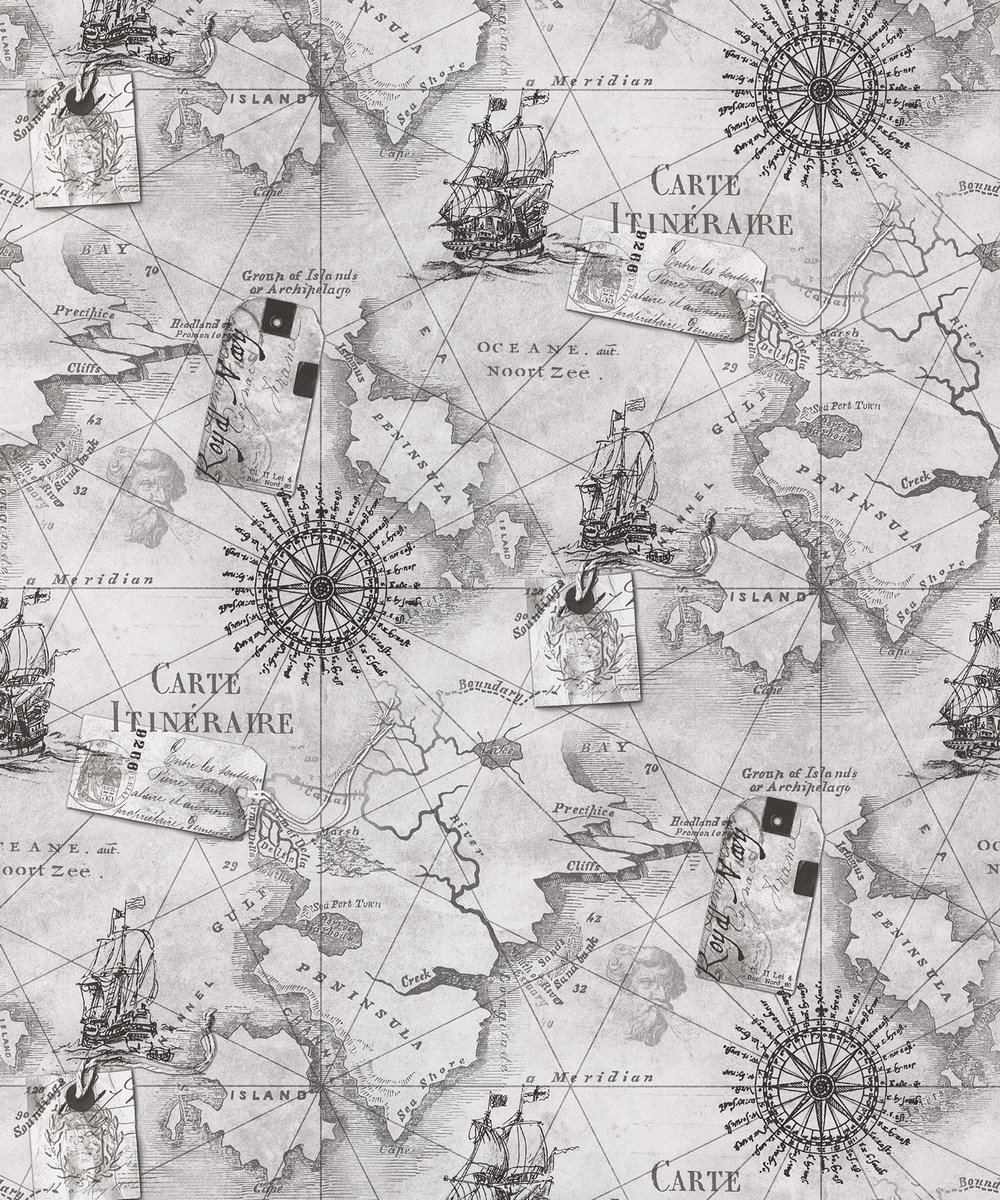 Wallpaper Treasure Who Invented The Automobile: Vintage Cartography Atlas Nautical Map Wallpaper